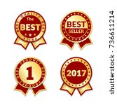 red ribbon awards best seller... | Shutterstock .eps vector #736611214