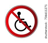 no disabled sign. forbidden red ... | Shutterstock .eps vector #736611271