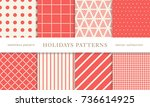 set of winter holiday seamless... | Shutterstock .eps vector #736614925