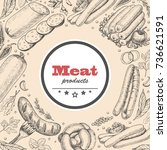 vector background with meat... | Shutterstock .eps vector #736621591