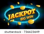 jackpot gambling retro banner... | Shutterstock .eps vector #736623649