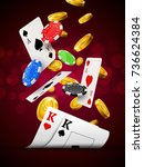Poker chips casino red background poster. Cards and coins success winner royal casino background. - stock vector