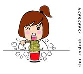 eat hot noodles cup cartoon | Shutterstock .eps vector #736628629