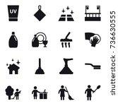 16 vector icon set   uv cream ... | Shutterstock .eps vector #736630555