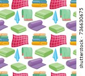 cartoon colorful towels... | Shutterstock .eps vector #736630675