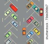 urban cars seamless texture.... | Shutterstock .eps vector #736630867