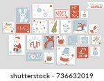 christmas advent calendar  cute ... | Shutterstock .eps vector #736632019
