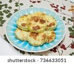korean food pumpkin pancake ...   Shutterstock . vector #736633051
