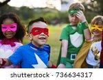 superhero kids with superpowers   Shutterstock . vector #736634317