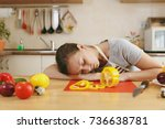 the young emaciated tired woman ... | Shutterstock . vector #736638781