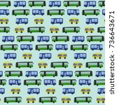 cute hand drawn bus pattern on... | Shutterstock . vector #736643671