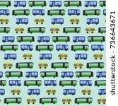 cute hand drawn bus pattern on...   Shutterstock . vector #736643671