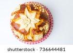 Small photo of Homemade decorated Serbian slava bread cake