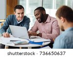 attentive men working at their... | Shutterstock . vector #736650637