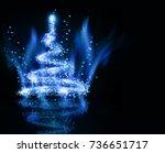 christmas blue tree | Shutterstock . vector #736651717