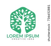 green tree vector logo design.... | Shutterstock .eps vector #736652881