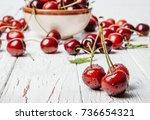 cherry. cherries in color bowl... | Shutterstock . vector #736654321