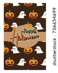 halloween greeting card and... | Shutterstock .eps vector #736654699