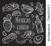 mexican food hand drawn doodle... | Shutterstock .eps vector #736655317