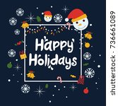 happy holidays vector... | Shutterstock .eps vector #736661089