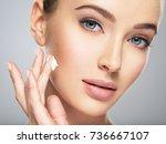 beautiful young woman gets... | Shutterstock . vector #736667107