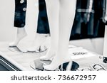 legs of mannequins in trousers... | Shutterstock . vector #736672957