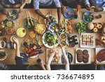 brunch choice crowd dining food ... | Shutterstock . vector #736674895