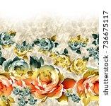 Stock photo watercolor flower pattern 736675117