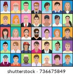 portraits of people of... | Shutterstock .eps vector #736675849
