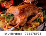 christmas goose with pumpkin... | Shutterstock . vector #736676935
