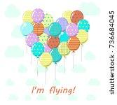 the balloons are heart shape... | Shutterstock .eps vector #736684045