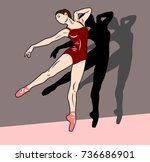 group ballerinas in pointes and ...   Shutterstock .eps vector #736686901