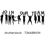 people silhouettes holding... | Shutterstock . vector #736688434