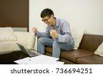 happy businessman using laptop...   Shutterstock . vector #736694251