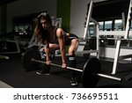 muscular fitness woman athlete... | Shutterstock . vector #736695511