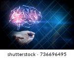 hands holding digital glowing...   Shutterstock . vector #736696495