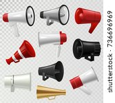 megaphone realistic 3d high... | Shutterstock .eps vector #736696969