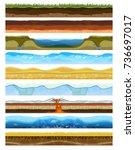 landscape earthy slice soil... | Shutterstock .eps vector #736697017