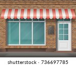cafe or store front with large... | Shutterstock .eps vector #736697785