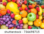 fresh fruits colorful... | Shutterstock . vector #736698715
