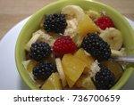 fruit and berry salad  oranges  ... | Shutterstock . vector #736700659