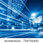traffic trails in downtown hong ... | Shutterstock . vector #736701691