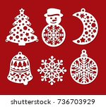 set of christmas decoration ... | Shutterstock .eps vector #736703929