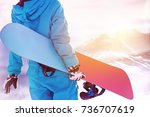 ski concept with close up photo ... | Shutterstock . vector #736707619