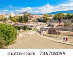 the archaeological site of...   Shutterstock . vector #736708099