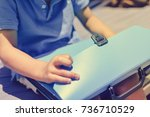 close up on schoolchild holding ... | Shutterstock . vector #736710529