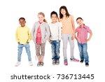 group of happy children posing... | Shutterstock . vector #736713445