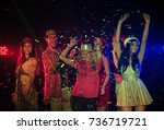 celebrating new year party.... | Shutterstock . vector #736719721