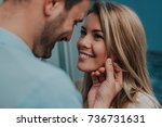 romantic couple looking at each ... | Shutterstock . vector #736731631