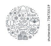 christmas  new year banner... | Shutterstock .eps vector #736733119